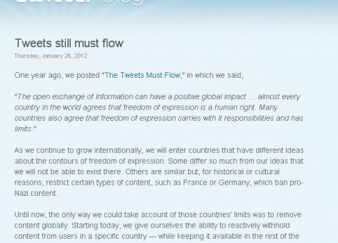 Twitter вводит локальную цензуру