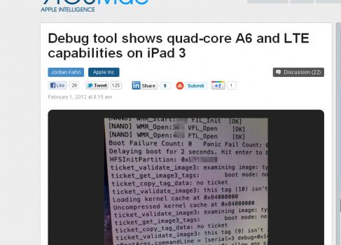 Слух: iPad3 будет оснащён четрёхядерным A6 и поддержкой LTE