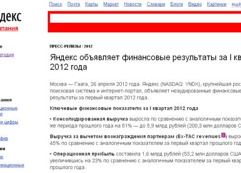 Яндекс отчиталась за Q1 2012