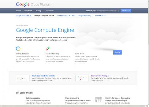 Google запускает Compute Engine