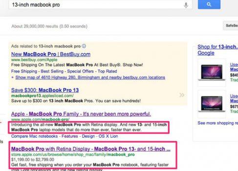 13″ MacBook Pro Retina появился в поисковой выдачи Google до официальной презентации