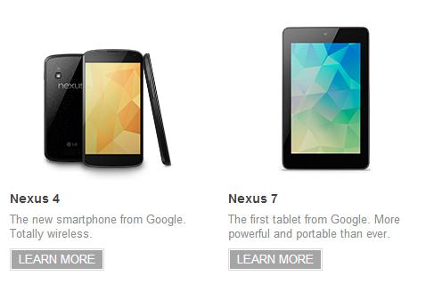 Google демонстрирует Nexus 4, Nexus 7 32Gb и Nexus 10