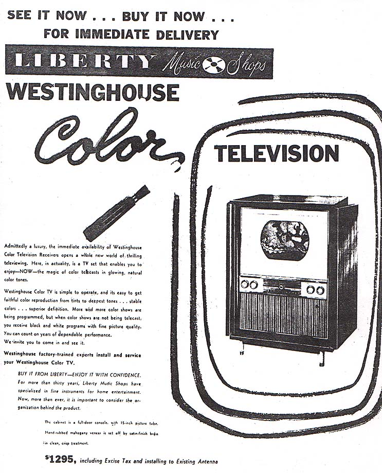 1954 Westinghouse Color NYT Ad
