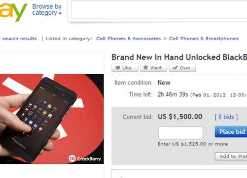 BlackBerry Z10 уже на eBay от $800