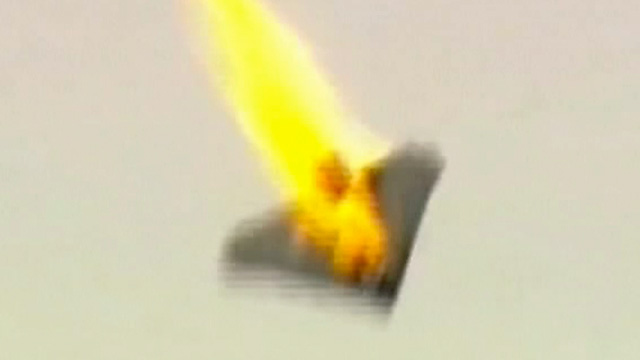 Drone on fire after being shot by laser weapon