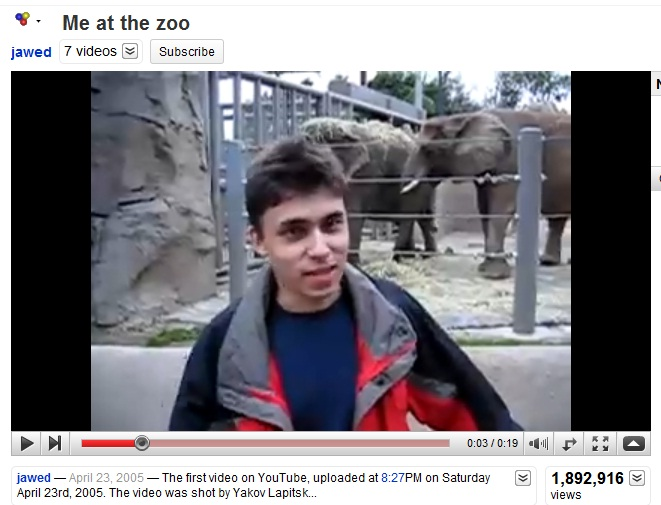 me at the zoo youtube