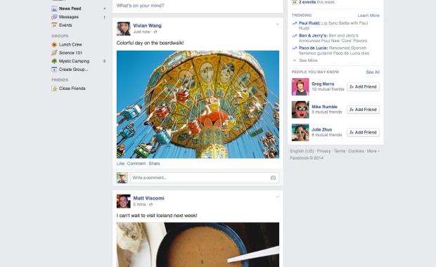 Facebook обновил дизайн ленты новостей